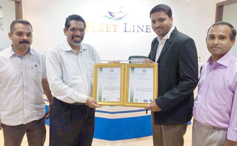 URS Middle East awards Fleet Line Shipping ISO 14001 and OHSAS 18001 Certifications